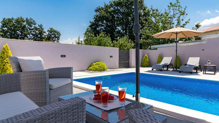 Villa with private pool offers privacy for families with children, 13