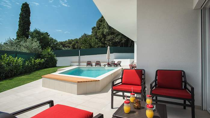 Luxury villa in Štinjan with outdoor pool and two bedrooms, WiFi, 5