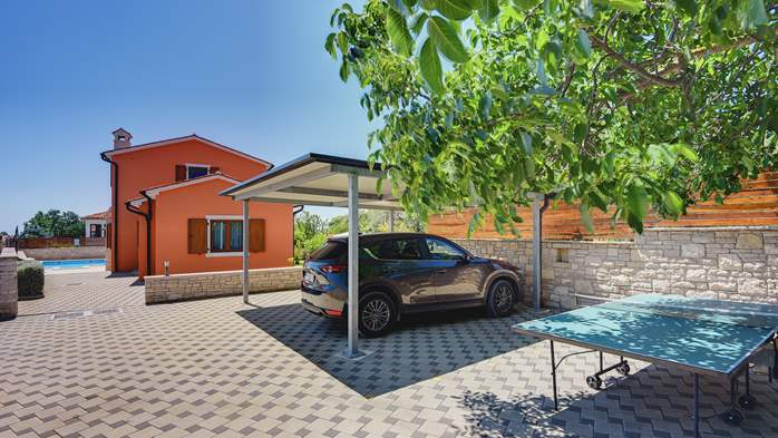 Villa with sea view, swimming pool, fenced lawn, 10
