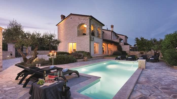 Stone villa near Rovinj, 2 swimming pools, 2 jacuzzis, 3 saunas, 8