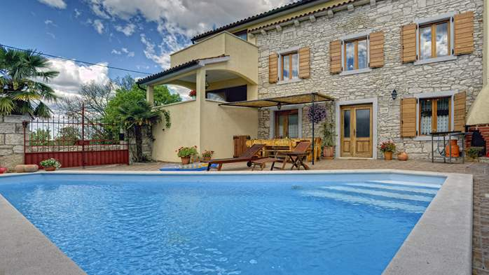 Villa with heated pool with whirlpool close to Savičenta, BBQ, 1