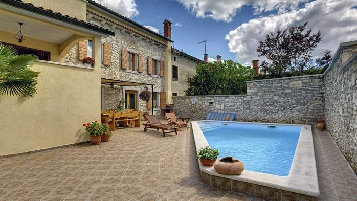 Villa with heated pool with whirlpool close to Savičenta, BBQ, 2
