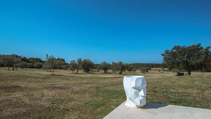Attractive villa surrounded by olive groves, 1km from the sea, 12