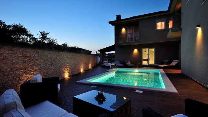 Modern villa with a private pool and summer kitchen with TV, 3