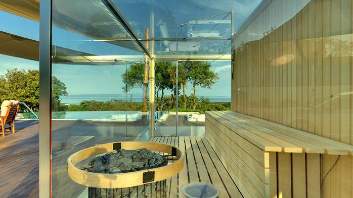 Villa with infinity pool, glass sauna,terrace and unique sea view, 16