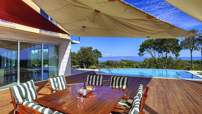 Villa with infinity pool, glass sauna,terrace and unique sea view, 12