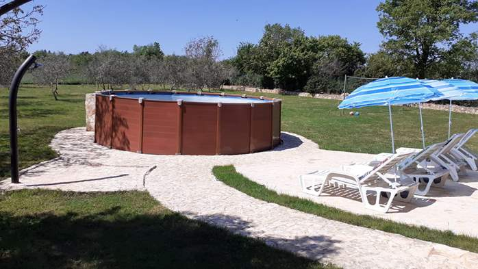 Pet friendly house with pool with sea water, volleyball, Wi-fi, 6