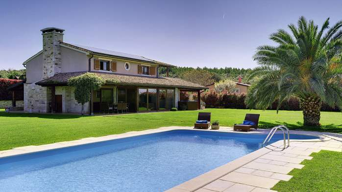 Villa in Pomer, private pool with whirlpool, big lawn, volleyball, 1