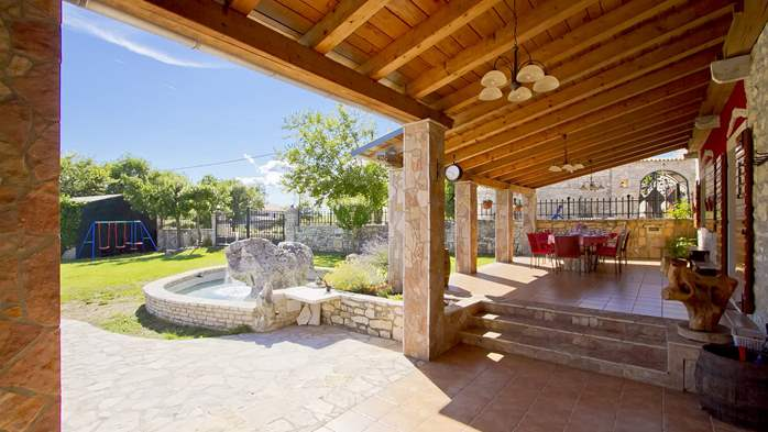Villa with pool, terrace and playground for kids, close to Labin, 43