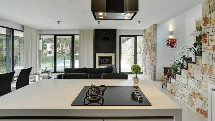 Modern villa, private pool, huge sunbathing terace, playground, 24