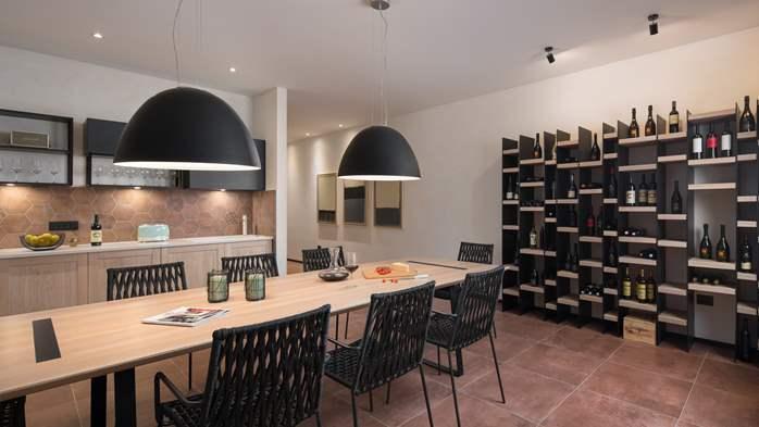 Stylish villa with heated pool near Pula, with wine cellar, 54