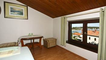 Arranged room with a bathroom in the attic with a sea view, 4