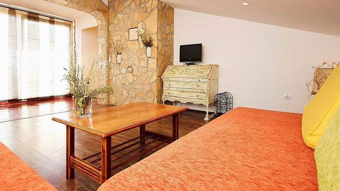 Beautiful, rustic style apartment with sea view and pool, WiFi, 5